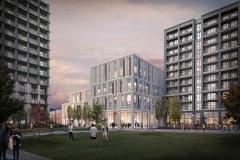 View across Park Basin to new Nine Elms school building